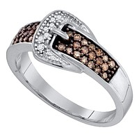 10kt White Gold Women's Round Cognac-brown Color Enhanced Belt Buckle Diamond Band Ring 1/4 Cttw - FREE Shipping (US/CAN)