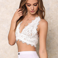 White Paisley Crochet Cross Strap Crop Top