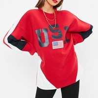 Missguided - Red USA Colour Block Sweatshirt