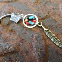 Indian Summer Dream Catcher Belly Button Ring Jewelry Bronze Feathers Belly Ring