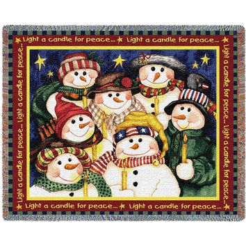 LIGHT A CANDLE CHRISTMAS AFGHAN THROW BLANKET