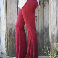 Like A Glove Burgundy Suede Flare Pants With Elastic Waist