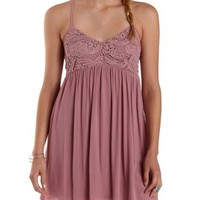 Deep Blush Strappy Crochet & Gauze Dress by Charlotte Russe