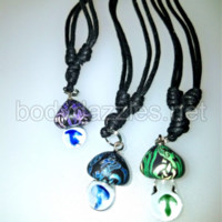 Glass Mushroom and Fimo Drop Pendant Necklace on Cord 18 inch