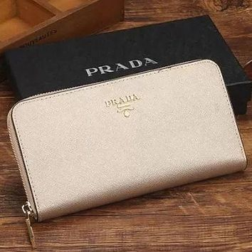 PRADA Classic Women's Trendy Leather Genuine Leather Wallet Bag