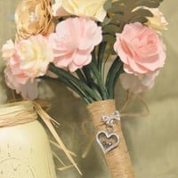 Shabby Chic Succulent floral bouquet with Pink, Ivory, Sage, and Gold accents,  Beautiful bouquet for your special day.