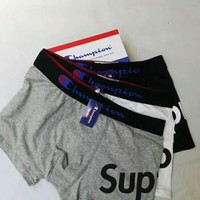 Champion x Supreme co-branded fashion brand men's cotton boxer briefs three-piece suit