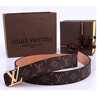 LV Louis Vuitton classic men's and women's all-match smooth buckle belt