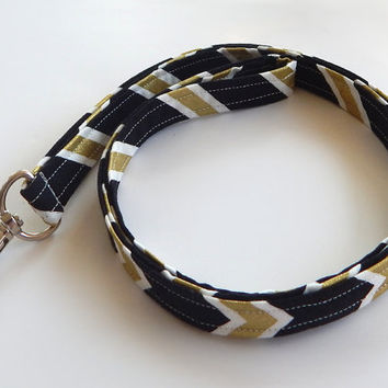 Chevron Lanyard / Gold / Boho Keychain / Black and Gold / Bohemian / Key Lanyard / ID Badge Holder