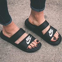 NIKE classic female fashion brand fashion high quality cool slippers F Black
