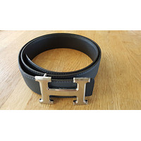 New Hermes 115cm Reversible Belt with Classical H Art Silver Buckle.