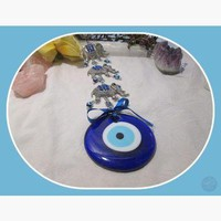 """Power, Wisdom, Protection"" Three Elephant Evil Eye Hanging"
