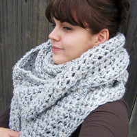 Oversized Crochet Cowl Infinity Scarf -Heather Grey- Made to Order