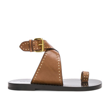 Isabel Marant Leather Jools Sandals in Chestnut | FWRD