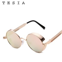 2017 TESIA Sunglasses Women Steampunk Mirror Coating Women Men Sunglasses Gogle Metal Frame Eyewear Sunglasses For Women T110
