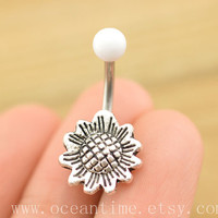 bellyring,belly button jewelry,sunflower belly button rings,cute sunflower navel ring,piercing belly ring,friendship gift