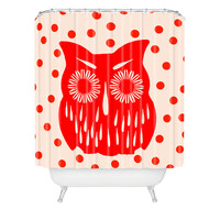 Garima Dhawan Vintage Red Owl Shower Curtain