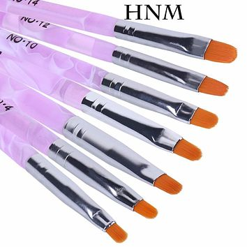 HNM 7pcs/lot Nail Art Brush Pens Nail Brushes UV Gel Nail Polish Painting Drawing Brushes set Manicure Tools Set Kit