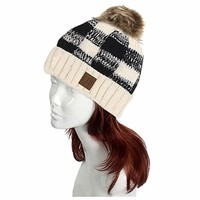 Buffalo Check Pattern Faux Pom Pom Knit Beanie Hat