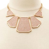 Geometric Glitter Statement Necklace by Charlotte Russe - Gold