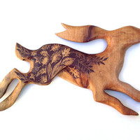 Hare Wall Hanging with Pyrography (Wood burning) Carving in Beech, rabbit Wall art, wood carving, rabbit ornament, moon gazing, uk, wooden