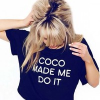LOVE Black 'COCO Made Me Do It' Cropped T-Shirt