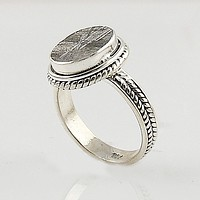 Gibeon Meteorite Oval Sterling Silver Ring