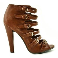 Reanna01 By Wild Diva, Women's Military Strappy Buckle Cutout Open Toe Bootie High Heel