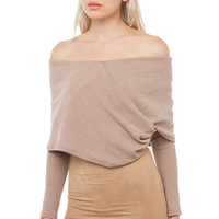 All In A Days Crop Sweater - Taupe