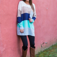 Love Today Sweater, Gray-Navy-Teal