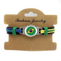 Latest Styles Real Leather World Cup Bracelet Jewelry Brazil Fashion Leather Adjustable Bracelet For Fans Loves Gift Jewelry