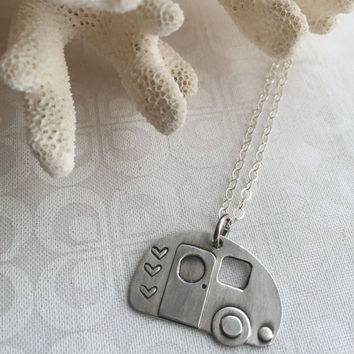 Retro Camper Charm Necklace, Sterling Silver Camper Necklace, Lets Go Camping Jewelry
