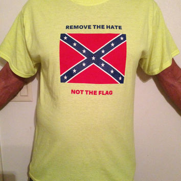 Confederate Flag Short Sleeve T-shirt Remove The Hate Not The Flag (Lime Green)