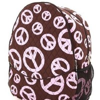 Pink & Brown Peace Sign Cotton Quilted Backpack for School