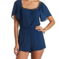 Deep Blue Lace-Trim Kimono Sleeve Romper by Charlotte Russe