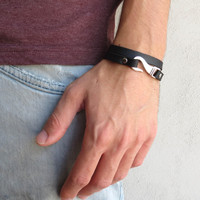 Men's Bracelet - Black Leather Bracelet With Silver Hook Bracket - Mens Jewelry - Hook Bracket Bracelet - Gift for Him