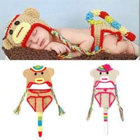 1set Newborn Cute Monkey clothes Infant Baby Boys Girls Knit Crochet Handmade Photography Photo Props Hat Size Fit 0-12 Months = 1958342916