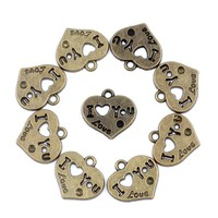 20 Pieces I Love You Magic Heart Charms Findings for Jewelry Pendant Necklace Making 19mm X 21mm