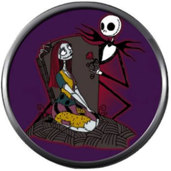 Jack Skellington And Sally On Purple Halloween Town Nightmare Before Christmas 18MM - 20MM Snap Jewelry Charm