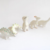 Tyrannosaurus Rex Figure, T Rex Figurine; Ceramic Dinosaur, with Yellow and Green Polka Dots; Jurassic Clay Collection. Made to order.