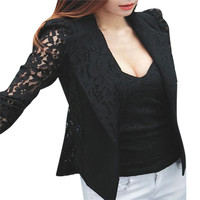 Spring Women Slim Blazer Coat 2016 New Fashion Casual Jacket Lace Long Sleeve One Button Suit Ladies Blazers Work Wear Plus Size