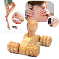 Solid Wood Full-body Four Wheels Wooden Car Roller Relaxing Hand Massage Tool Reflexology Face Hand Foot Back Body Therapy