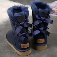 UGG girl Large bow tie Keep warm Snow boots-5