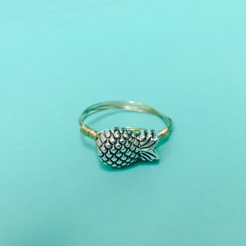 Ships Free! Pineapple Wire Wrapped Gold Ring - Great gift idea for bridesmaids, birthdays, and grads!