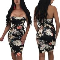 Sexy Off Shoulder Dress Women Floral Print Work Business Party Chic Pleated Strapless Pencil Dress Mini Bodycon Dress Sundress