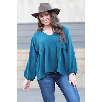 {Teal} Chic Babydoll Blouse
