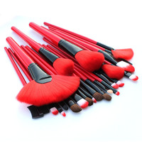 24 pcs Red Professional Makeup Brushes Tools Face Care Cosmetic Brushes