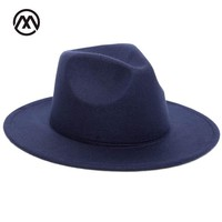 2017 Autumn Winter Womens Felt Hat Fedoras Big Brim Hats For Women British Style Vintage Church Hats Lady Flat Brim Fedoras