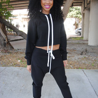 Black Tracksuit // Drop crotch and Cropped Hoodie // Female // White or Black Drawstring // YOU CHOOSE