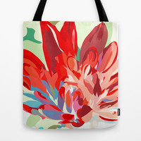 Canvas Tote Bag, Red Flower Tote Bag, Summer Tote Bag, 16x16 inches